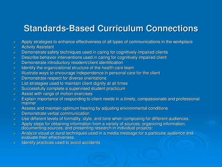 Standards-Based Curriculum Connections
