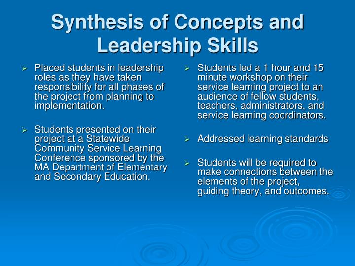 Synthesis of Concepts and Leadership Skills