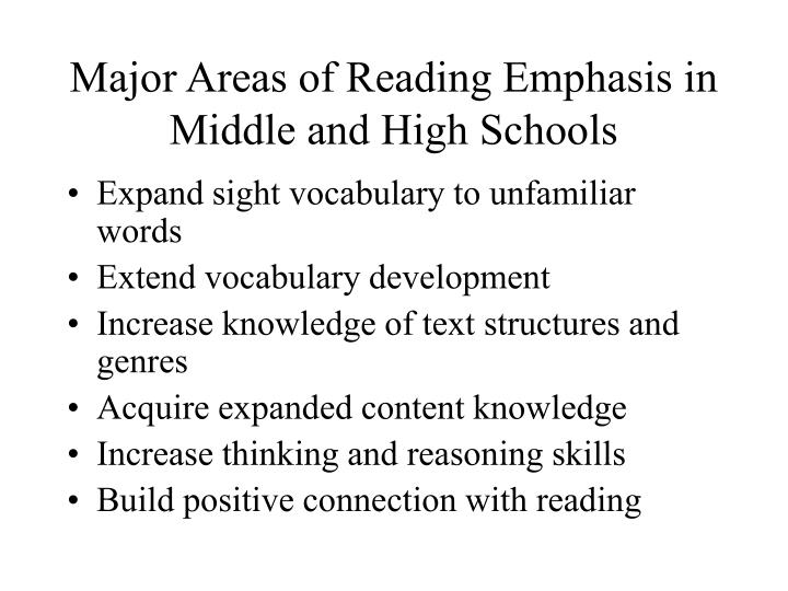 Major Areas of Reading Emphasis in Middle and High Schools