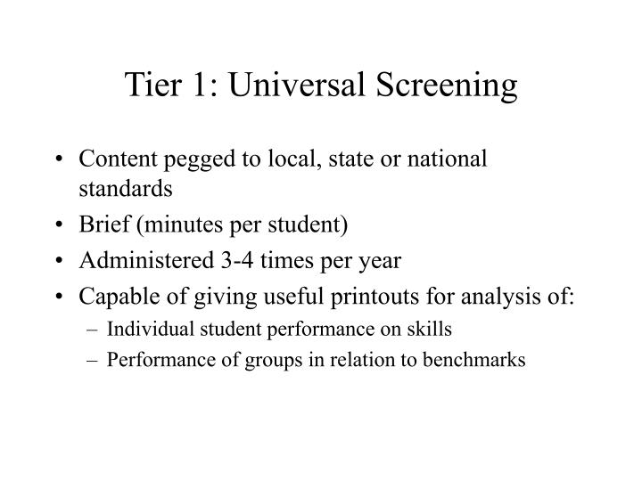 Tier 1: Universal Screening