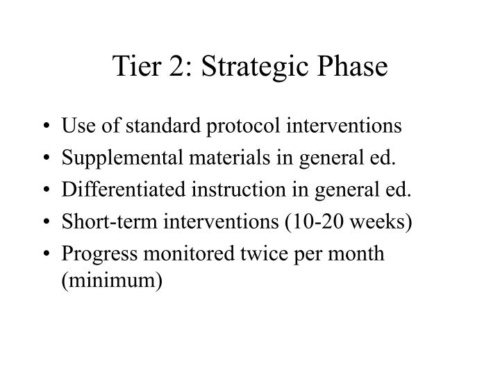 Tier 2: Strategic Phase