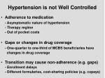 hypertension is not well controlled
