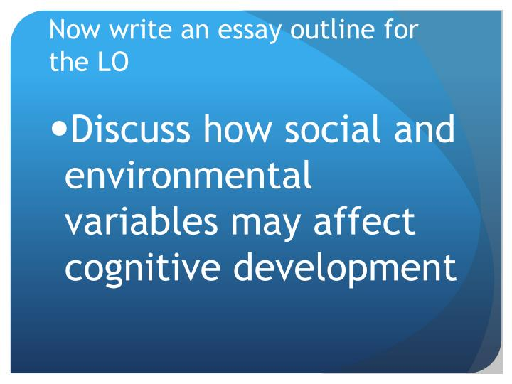 Now write an essay outline for the LO