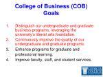 college of business cob goals