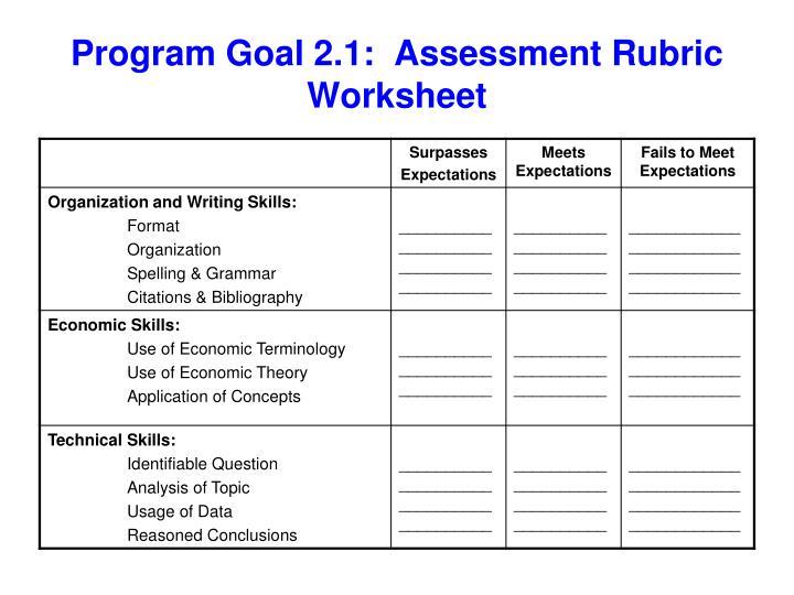 Program Goal 2.1: