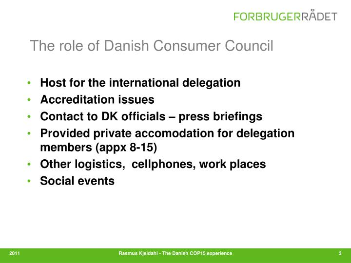 The role of Danish Consumer Council