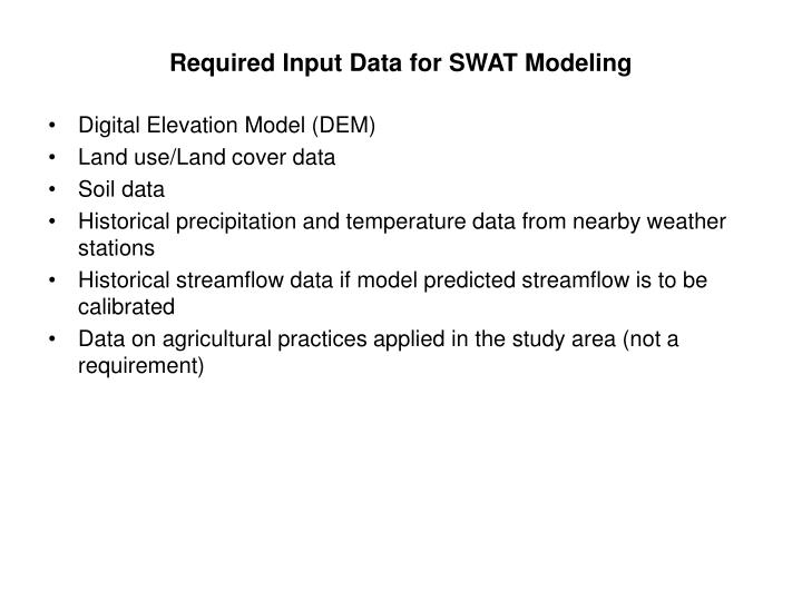 Required input data for swat modeling