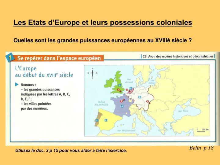 Les Etats d'Europe et leurs possessions coloniales
