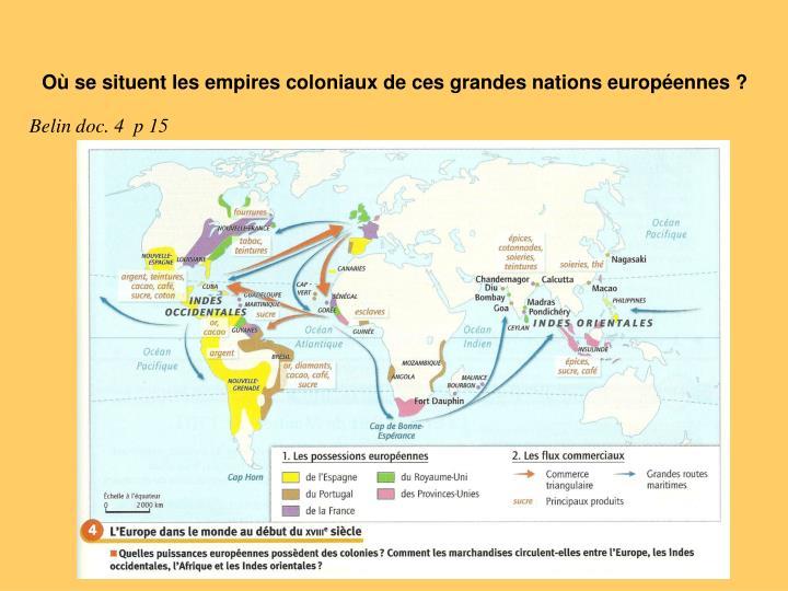 Où se situent les empires coloniaux de ces grandes nations européennes ?