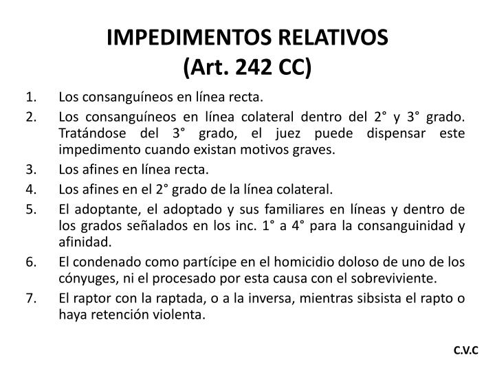 IMPEDIMENTOS RELATIVOS