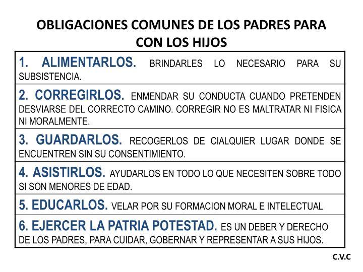 OBLIGACIONES COMUNES DE LOS PADRES PARA CON LOS HIJOS