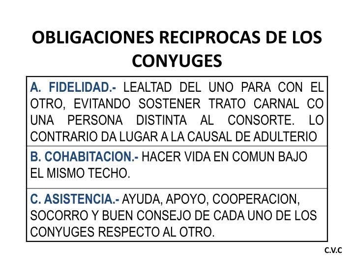 OBLIGACIONES RECIPROCAS DE LOS CONYUGES