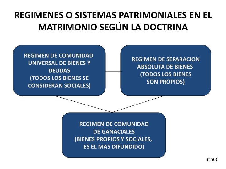 REGIMENES O SISTEMAS PATRIMONIALES EN EL MATRIMONIO SEGÚN LA DOCTRINA
