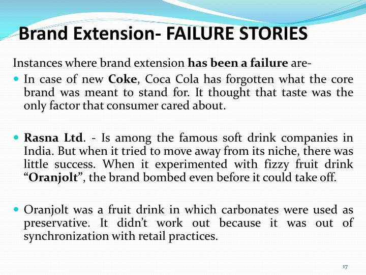 Brand Extension- FAILURE STORIES