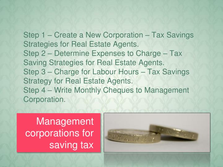 Step 1 – Create a New Corporation – Tax Savings Strategies for Real Estate Agents.