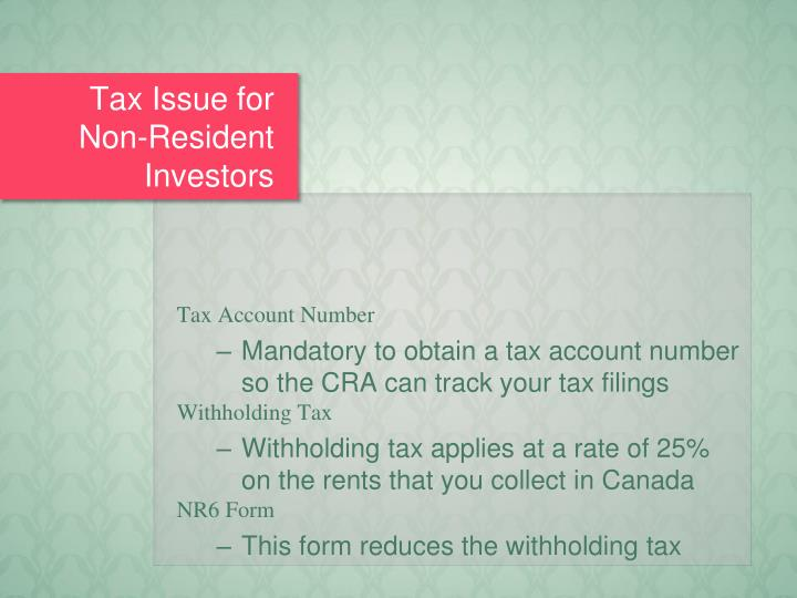 Tax Issue for Non-Resident Investors