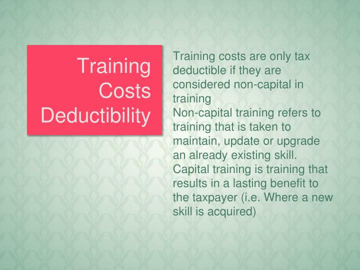 Training Costs Deductibility