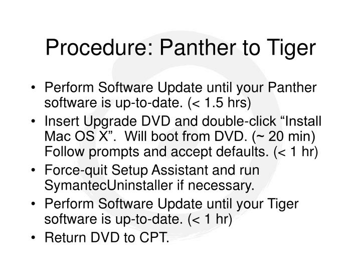 Procedure: Panther to Tiger