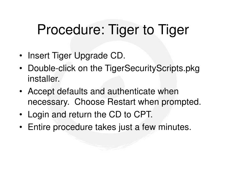 Procedure: Tiger to Tiger