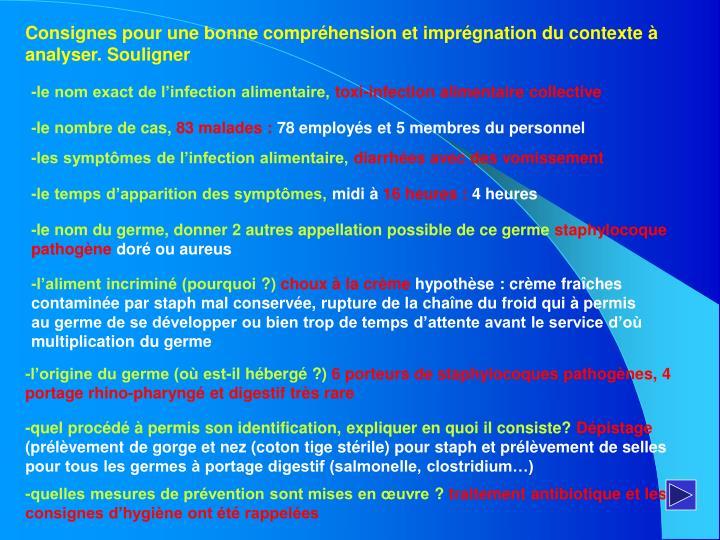Consignes pour une bonne compréhension et imprégnation du contexte à analyser. Souligner