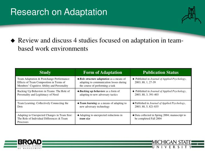 Research on Adaptation