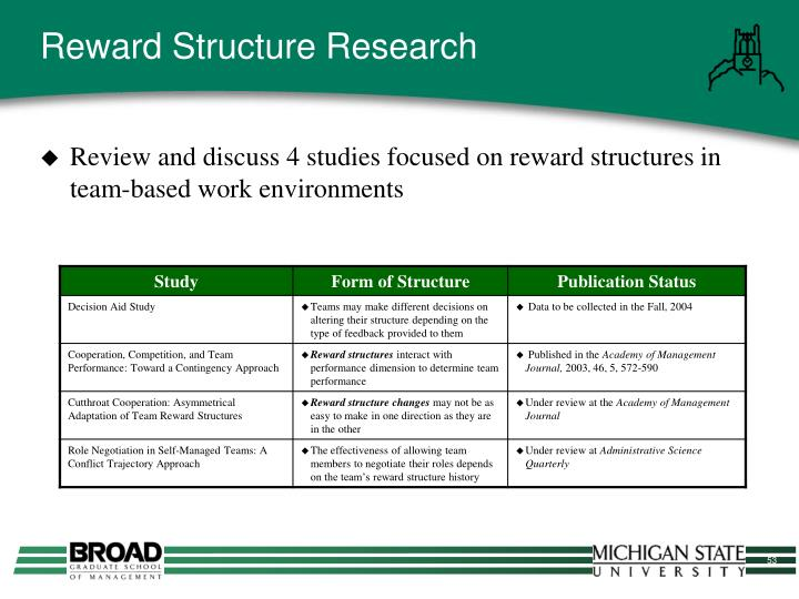 Reward Structure Research
