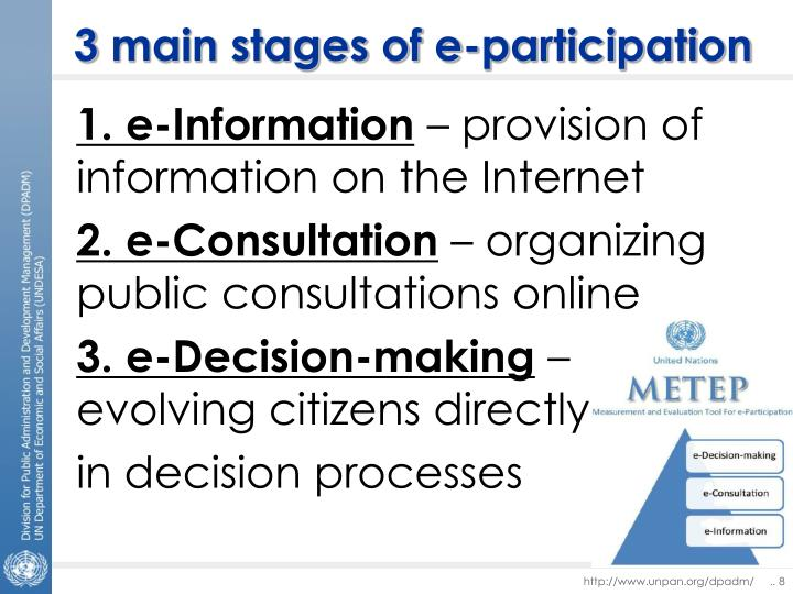 3 main stages of e-participation