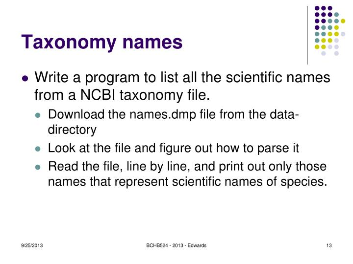 Taxonomy names