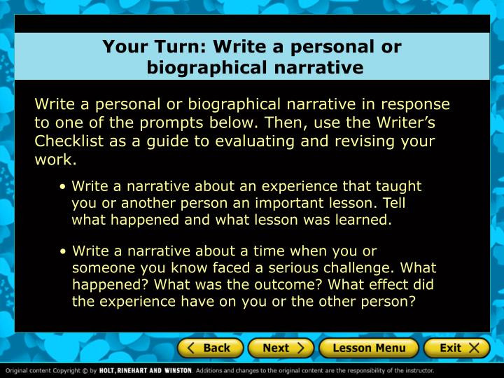 Your Turn: Write a personal or