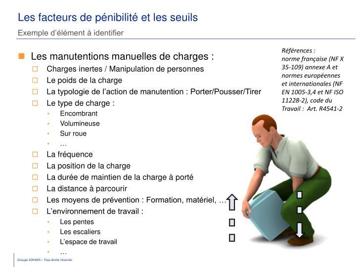 Les facteurs de pénibilité et les seuils