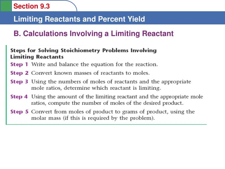 B. Calculations Involving a Limiting Reactant