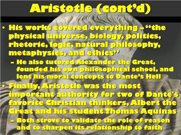 Aristotle (cont'd)