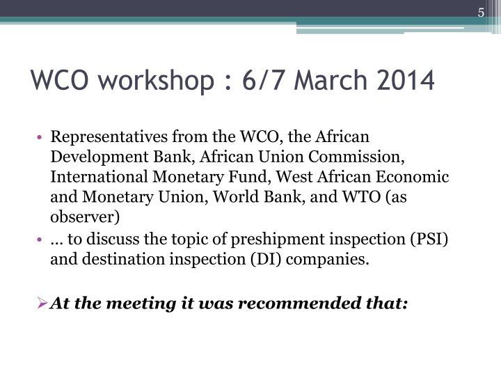 WCO workshop :