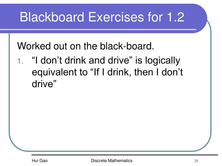 Blackboard Exercises for 1.2
