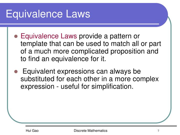Equivalence Laws