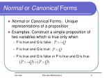 normal or canonical forms