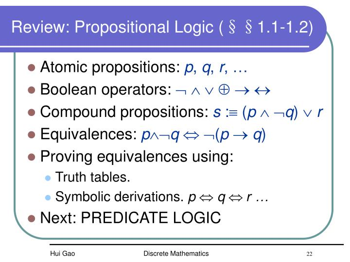 Review: Propositional Logic (§§1.1-1.2)
