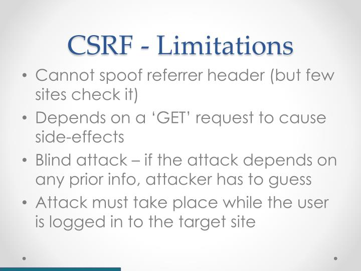 CSRF - Limitations
