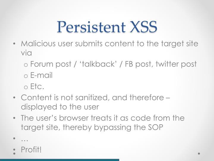 Persistent XSS