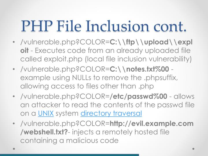 PHP File Inclusion cont.