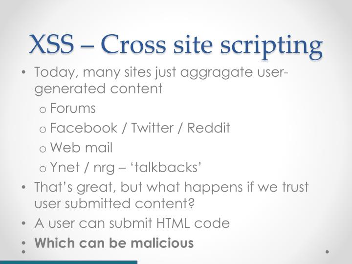 XSS – Cross site scripting
