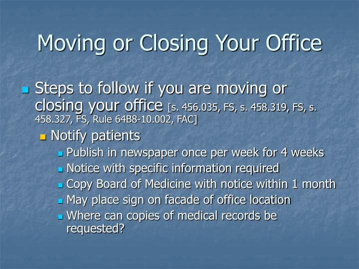 Moving or Closing Your Office
