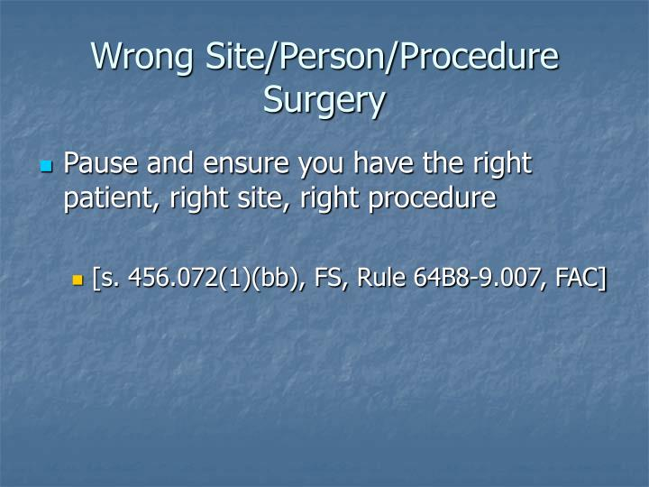 Wrong Site/Person/Procedure Surgery