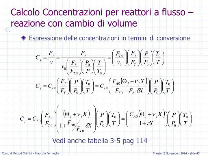 Calcolo Concentrazioni per reattori a flusso – reazione con cambio di volume