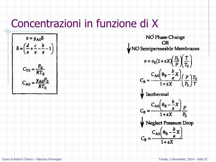 Concentrazioni in funzione di X