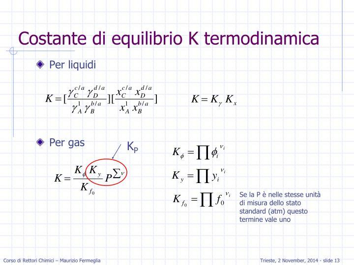 Costante di equilibrio K termodinamica
