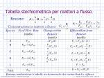 tabella stechiometrica per reattori a flusso