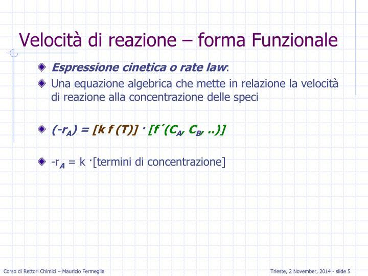 Velocità di reazione – forma Funzionale