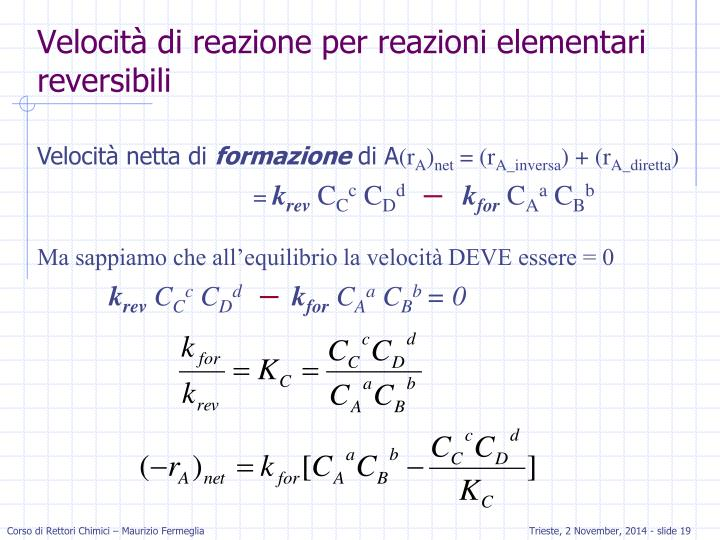 Velocità di reazione per reazioni elementari reversibili