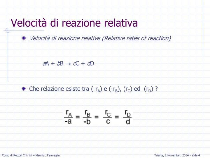 Velocità di reazione relativa